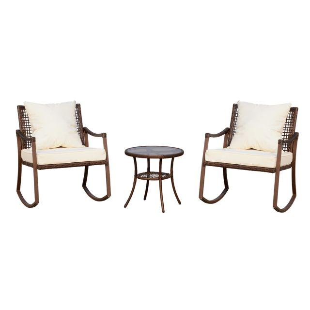 OUTSUNNY Ensemble de jardin 3 pièces style cosy 2 fauteuils à bascule avec coussins assise dossier + table basse résine tressée b