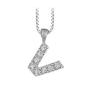 So Chic Bijoux Collier 40 Cm Avec Pendentif Initiale Lettre V Oxyde De Zirconium Argent 925