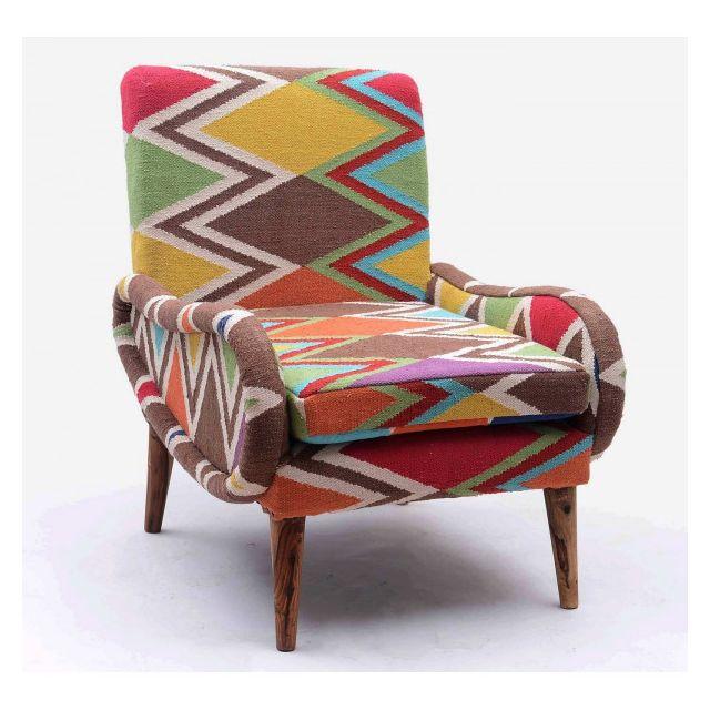 Mathi Design Shaki - Fauteuil Kilim coloré