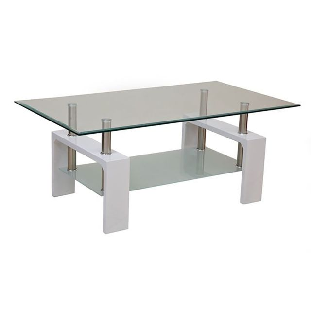TOPDECO Table basse Blanche 2 plateaux Focus