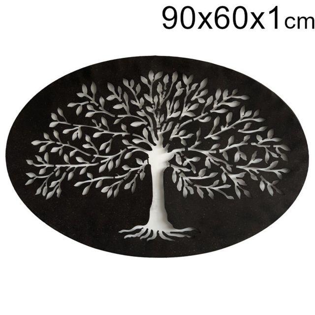 Chemin De Campagne Fronton Grille Mural Cadre Décoration Murale Ovale Métal Fer Arbre 90 x 60 cm