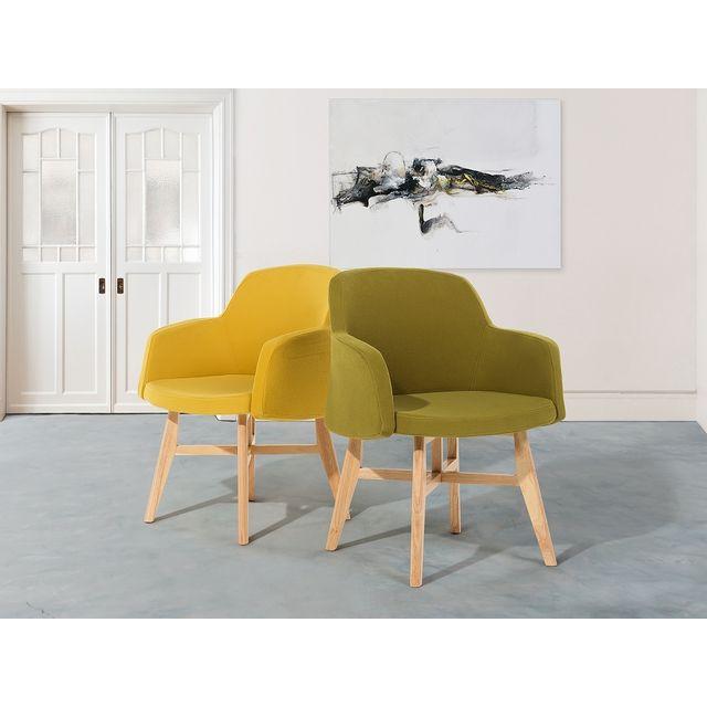 Beliani Fauteuil en tissu-Olive-Chaise design- Ystad