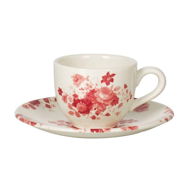 Table Passion Tasse à café + soucoupe en faïence 9cl motif floral bordeaux / blanc - Lot de 6 pièces Lily Rose