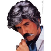 - Perruque de vieux play boy avec moustaches grises