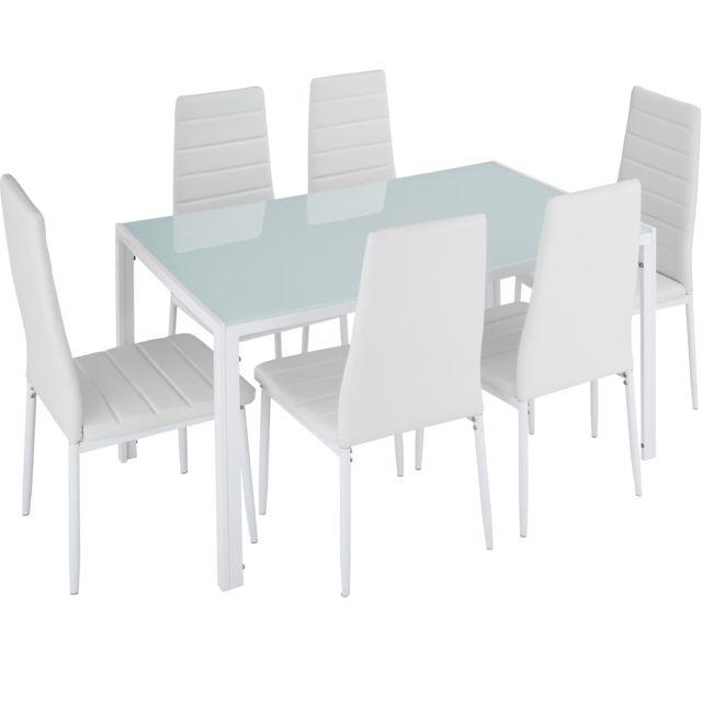 TECTAKE Set Table à manger + 6 Chaises de Salle à Manger Structure en Acier Blanc