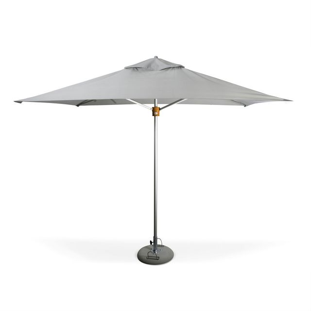 ALICE'S GARDEN Parasol très haut de gamme rectangulaire Mariner 2x3m Gris clair Alu anodisé Ouverture automatique Noix en bois