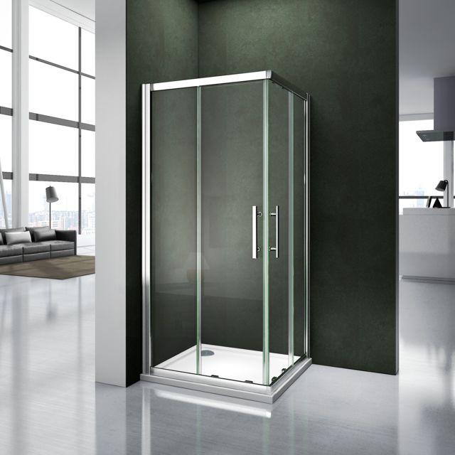 marque generique cabine de douche 90x90x195cm porte de douche coulissante en verre securitaccs d - Porte De Douche Coulissante Pas Cher