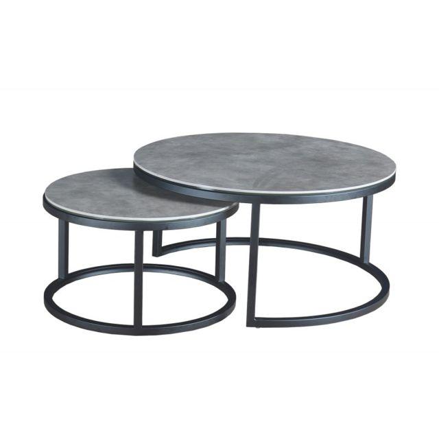 Meubletmoi Table basse gigogne en céramique - Oxy