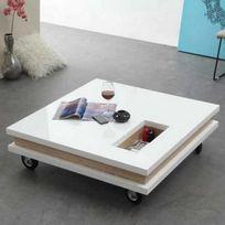 Beaux Meubles Pas Chers - Table Basse Blanche Carrée 100 cm sur Roulettes