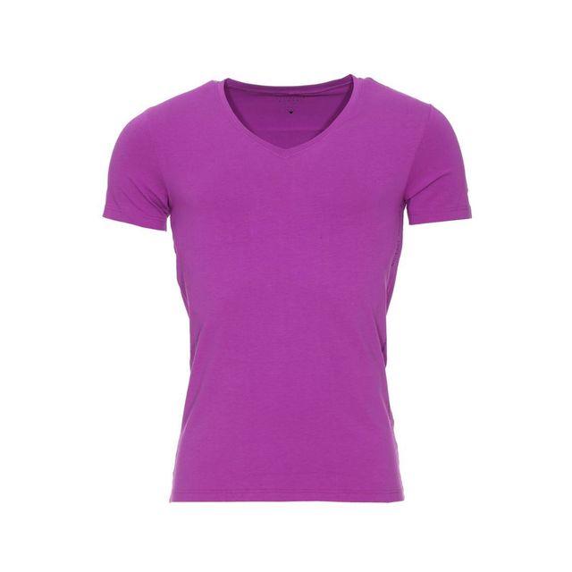856efb87dd7c Guess - Tee-shirt col V en coton stretch mauve - pas cher Achat ...