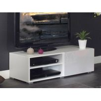 Symbiosis - Meuble Tv 2 niches 1 tiroir en bois L96xP42xH31cm Glossy - Blanc
