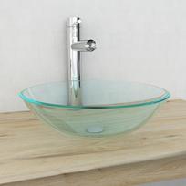 Vidaxl - Verre trempé de lavabo 42 cm Transparent