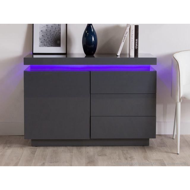 Axe Design Buffet design 1 porte 3 tiroirs avec leds en bois laqué L110cm Ivy - Gris