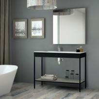 Aquae Line   Meuble Salle De Bain Noir 120 Cm + Vasque Céramique, Metal