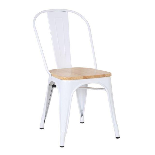 Novara Mobili - Chaise en métal Lix Style Blanche Winter avec siège en bois