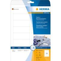 Herma - 4420 Pack de 400 étiquettes badges/textile amovibles en acétate sur feuilles A4 88,9 x 33,8 mm Blanc Import Allemagne