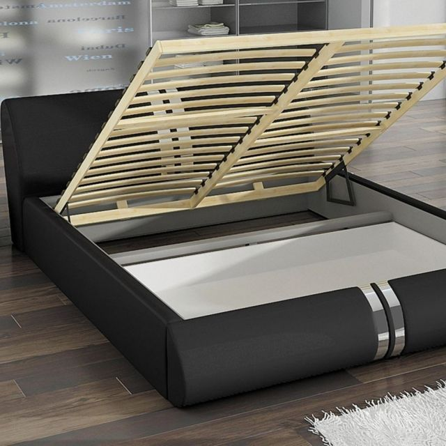meubler design lit design xena avec sommier relevable noir 180x200 pas cher achat. Black Bedroom Furniture Sets. Home Design Ideas
