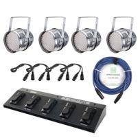 Showlite - Par-64 Led,10mm 4 x Lot + FootControl + Câble + 4 Projecteurs