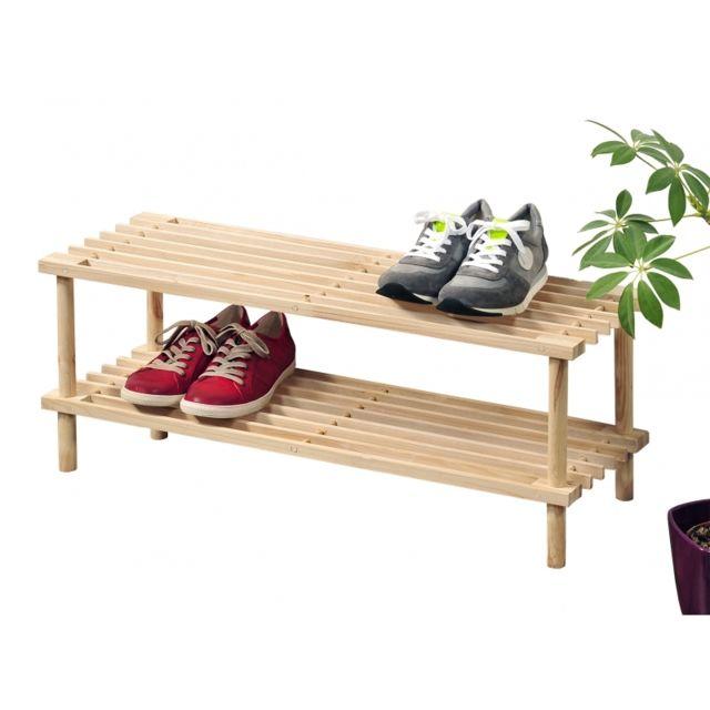 Range <strong>chaussures</strong> en bois clair 2 niveaux
