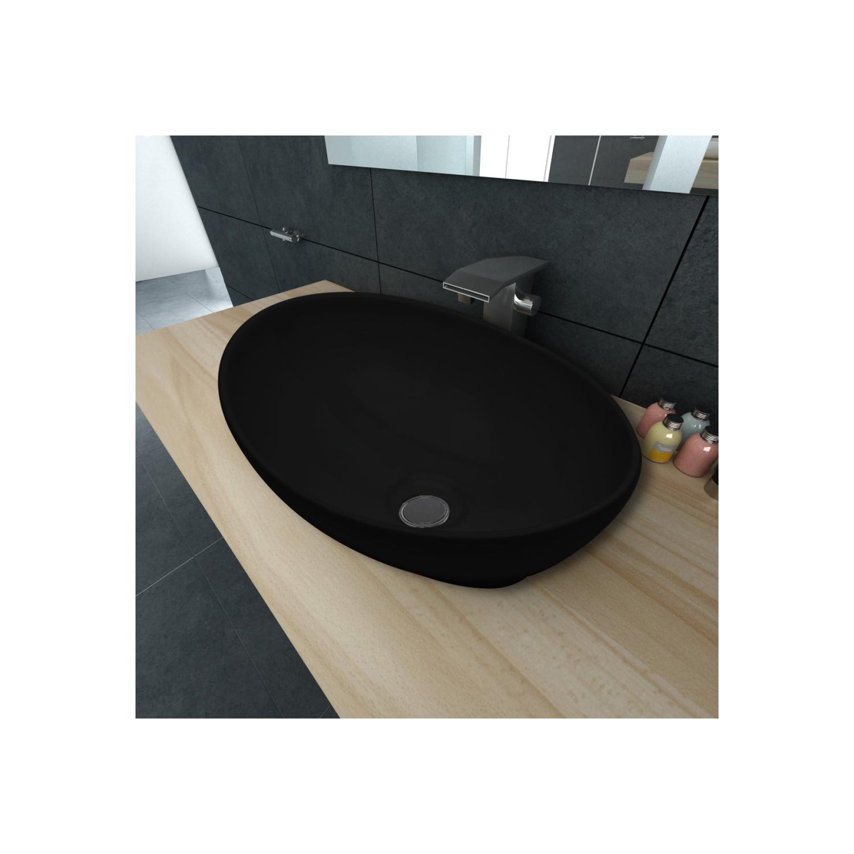 Vidaxl - Luxueuse Vasque à poser en céramique Ovale Noire 40 x 33 cm