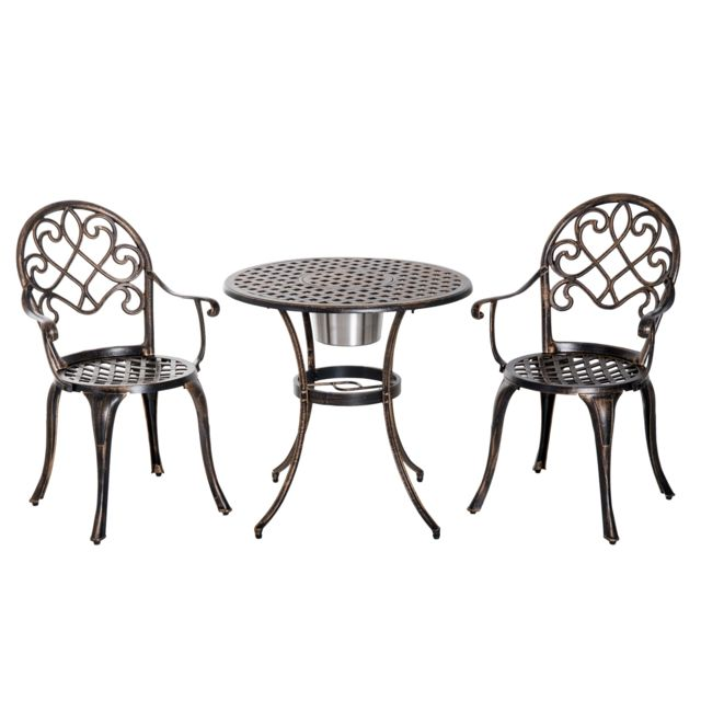 OUTSUNNY - Ensemble bistrot style colonial 2 chaises + table ...