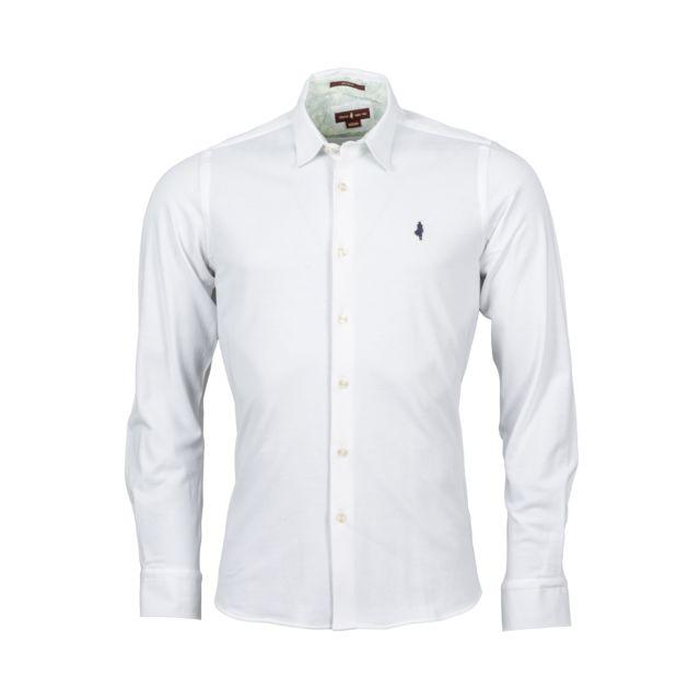 Mcs Chemise ajustée manches longues en coton piqué blanc