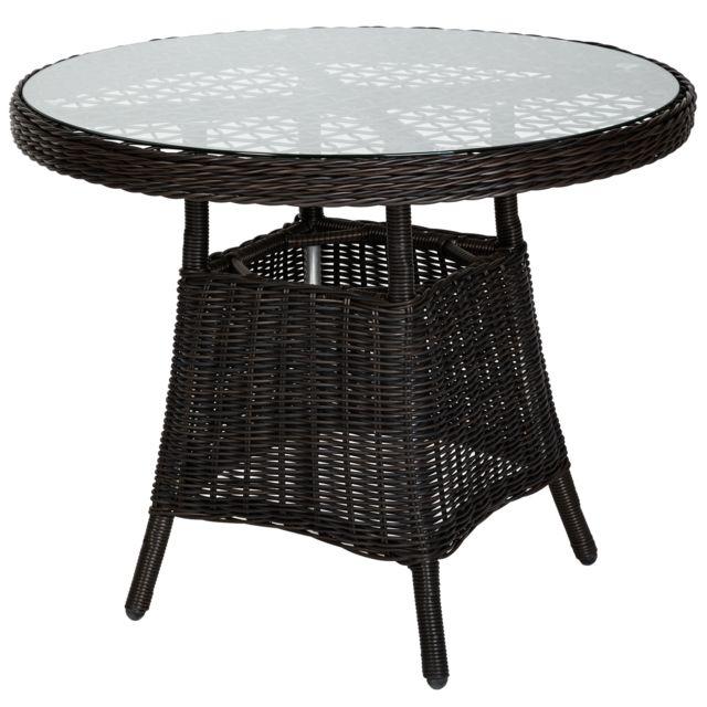 Salon de jardin ZURICH 4 Personnes 4 Fauteuils 1 Table Ronde en Résine  Tressée structure Aluminium Marron foncé