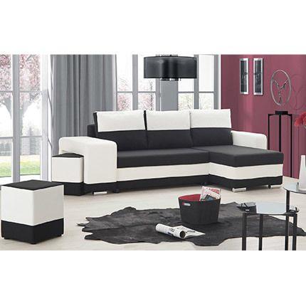 Canapé d'angle réversible convertible Pu - microfible blanc noir - Sefio
