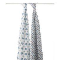 Aden And Anais - Maxi-lange Pack de 2 - Etoiles Bleues Prince Charming Aden & Anais