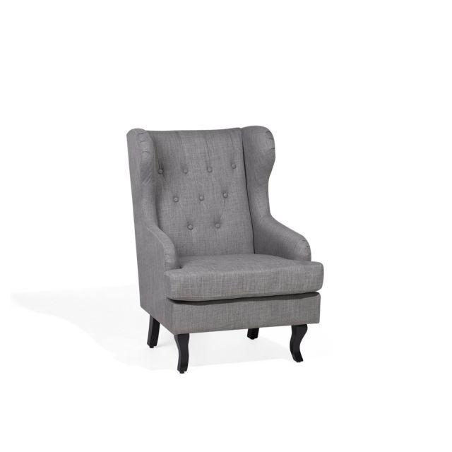 BELIANI Fauteuil en tissu tapissé gris ALTA - gris