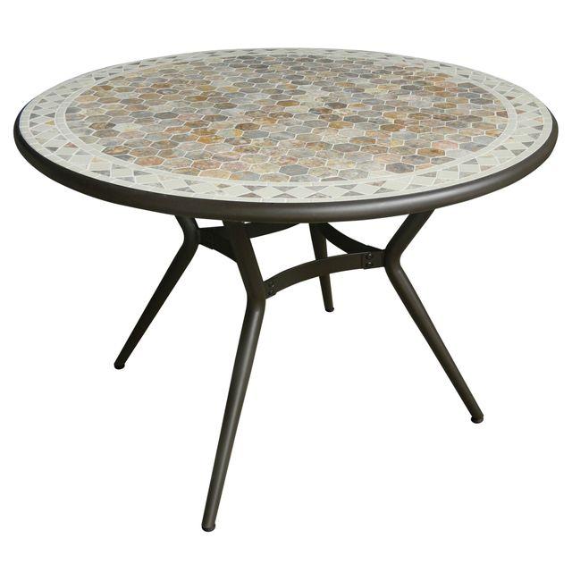 Alinéa - Fez Table de jardin en céramique et marbre 4 places ...
