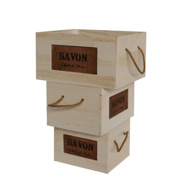 Mobili Rebecca Set 3 Boîtes de Rangement Bois Poignées Blanc Marron