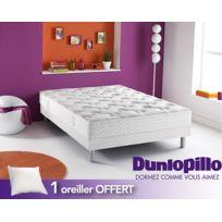 Dunlopillo - Oreiller s, Offert s Ensemble : Ambre Sommier Dunlosom Pieds cylindriques coloris aluminium