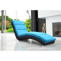 Chloe Design - Fauteuil relaxation design en tissu Mayol - bleu noir