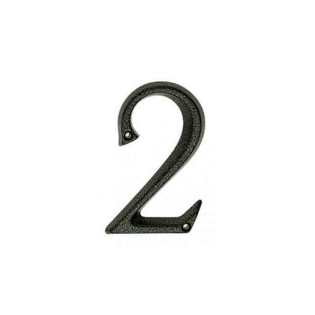 Ouvredeco . accessoire de por signalétique numéro de rue 2 en zamak patiné de 95mm rustique