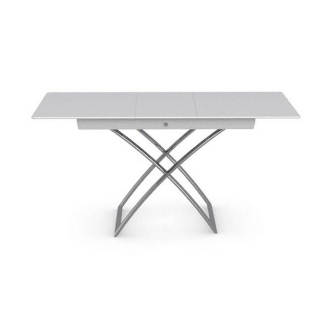 Table Basse Relevable Extensible Italienne Magic J Glass En Verre Extra Blanc