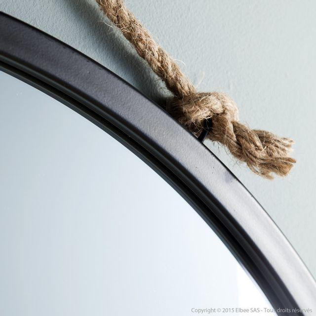 House Bay - Miroir mural rond en métal noir suspendu par une corde D.70cm Tali 0cm x 0cm