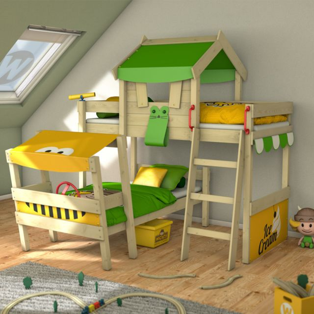 WICKEY Lit superposé CrAzY Trunky Lit en bois pour enfants - 2 places