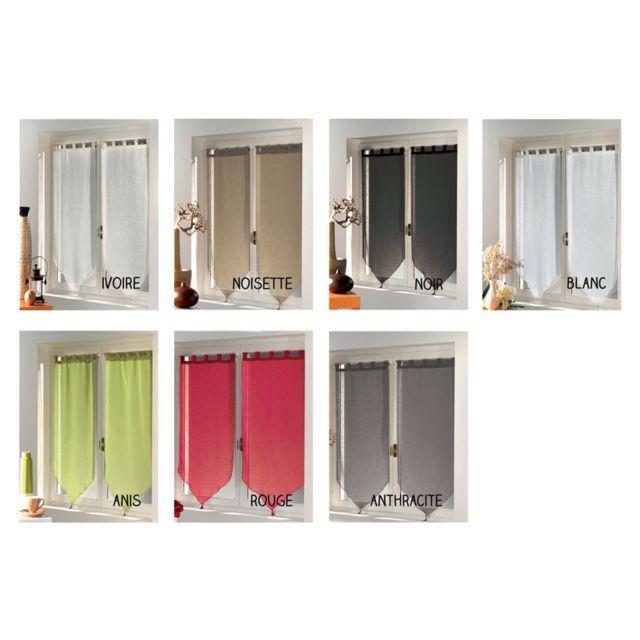 sans marque paire de voilage 60 x 90 cm luminea finition pointe ivoire pas cher achat. Black Bedroom Furniture Sets. Home Design Ideas