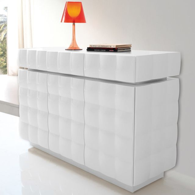 Nouvomeuble Buffet laqué blanc design Adama