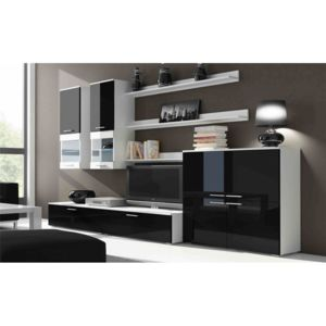 chloe design ensemble meuble tv rimo commode noir et blanc pas cher achat vente. Black Bedroom Furniture Sets. Home Design Ideas