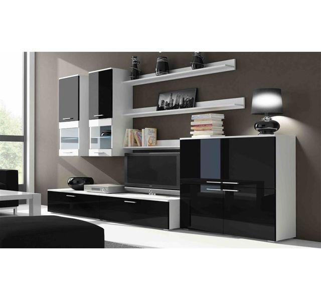 CHLOE DESIGN Ensemble Meuble tv Rimo + Commode - noir et blanc