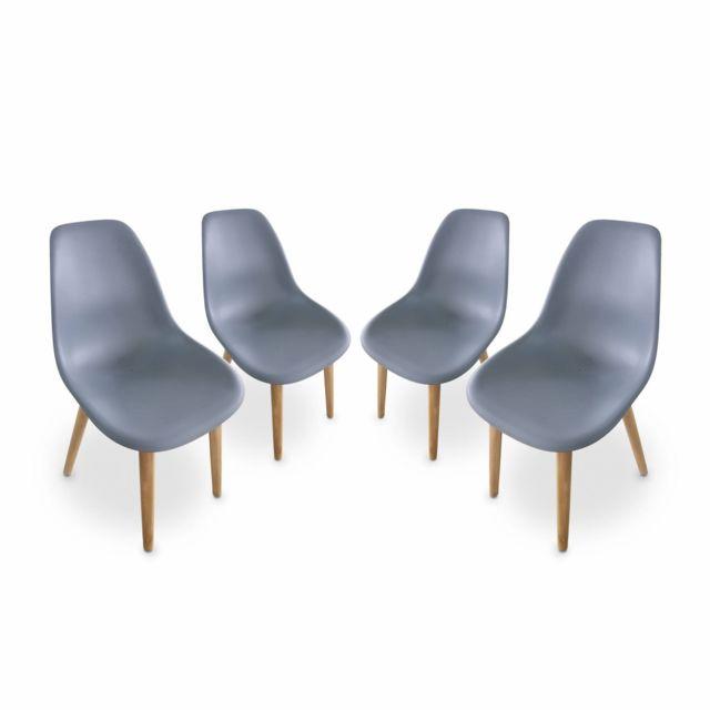 ALICE'S GARDEN Lot de 4 chaises scandinaves PENIDA, en acacia et résine injectée anthracite, intérieur/extérieur