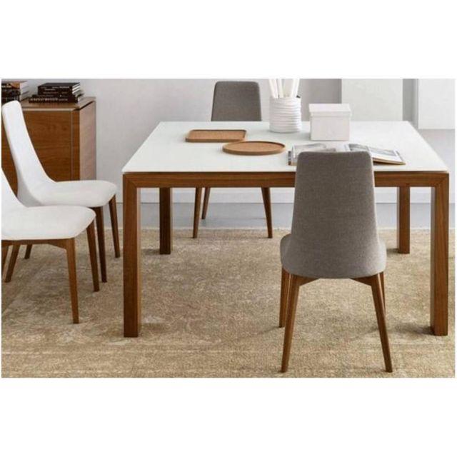 Inside 75 Table repas extensible Sigma Glass 140x140 en verre blanc piétement bois