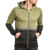 Gov Denim - Veste fine homme zippée effet dégradé kaki et noir à capuche