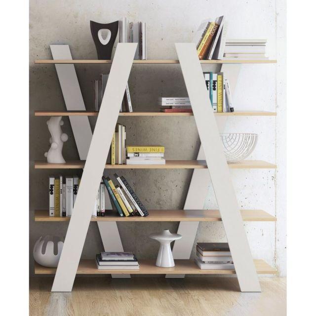 inside 75 - wind bibliotheque étagère design blanche mate et chêne