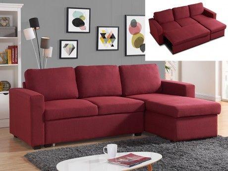 6ee24c6200d MARQUE GENERIQUE - Canapé d angle convertible et réversible en tissu TIRUA  - Rouge bordeaux