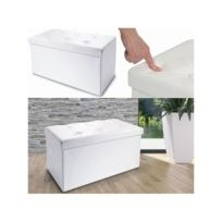 IDMARKET - Banc coffre rangement PVC blanc 76x38x38 cm pliable
