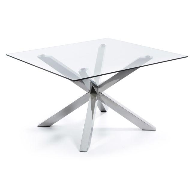 Kavehome Table Argo-c 149x149 cm, inox et verre