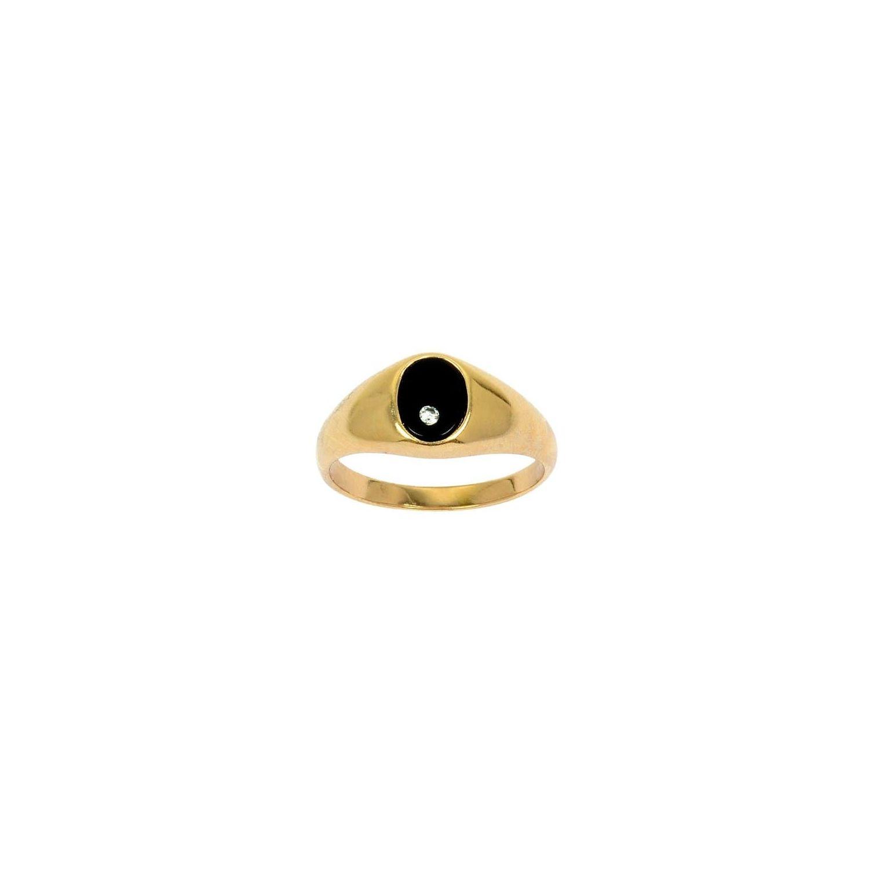 SOCHICBIJOUX- So Chic Bijoux © Bague Chevalière Onyx Noir Oxyde de Zirconium  Blanc Plaqué Or 86b6f375e212